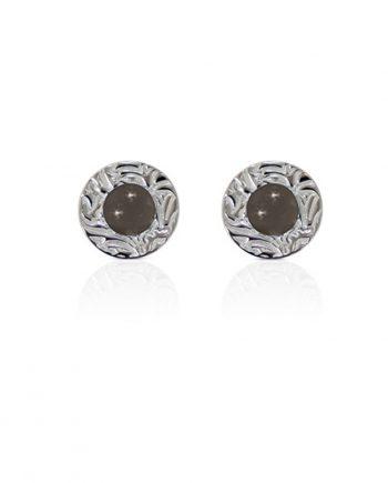 Örhängen Silver Mini Shield Ear Stud Grey Moon