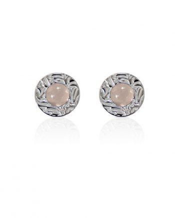 Örhängen Silver Mini Shield Ear Stud Rose Quartz