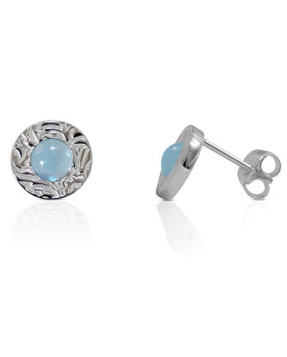 Örhängen Silver Mini Shield Ear Stud Sky Blue Side