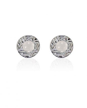 Örhängen Silver Mini Shield Ear Stud White Moon