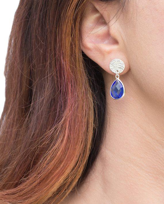 Örhängen-Silver-Mini-Shield-Drop-Royal-Blue-Modell-Shieldmaid-1095-SEK